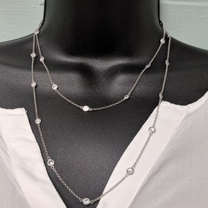 Jewelry - Station crystal silver tone necklace